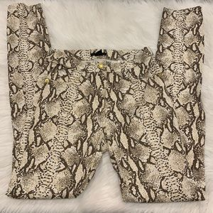 H&M brown snake print skinny pants